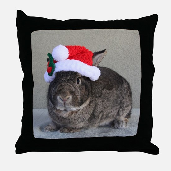 Bunny Christmas Ornament Throw Pillow
