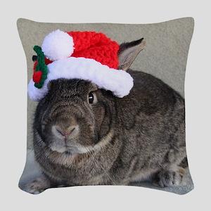 Bunny Christmas Ornament Woven Throw Pillow
