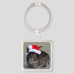 Bunny Christmas Ornament Square Keychain
