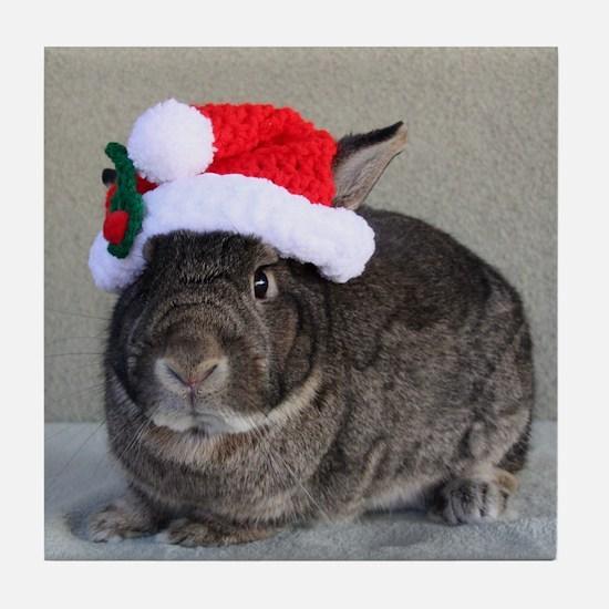 Bunny Christmas Ornament Tile Coaster