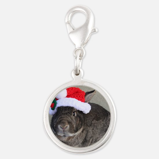 Bunny Christmas Ornament Silver Round Charm
