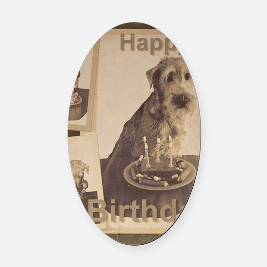 Happy Birthday Irish Terrier 01 Oval Car Magnet