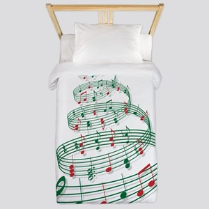 Christmas tree with music notes and hea Twin Duvet