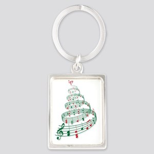 Christmas tree with music notes  Portrait Keychain