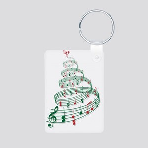 Christmas tree with music  Aluminum Photo Keychain