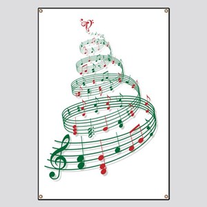 Christmas tree with music notes and heart Banner
