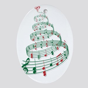 Christmas tree with music notes and  Oval Ornament