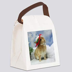 Bunny Christmas Ornament Canvas Lunch Bag