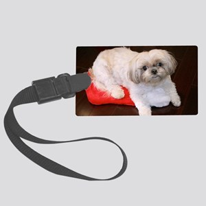 Dog Holiday Ornament Large Luggage Tag