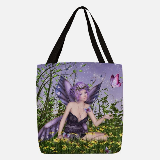 Purple Spring Fairy Polyester Tote Bag