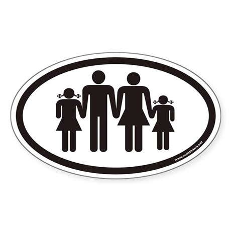 Family On Board (Two Daughters) Euro Oval Sticker