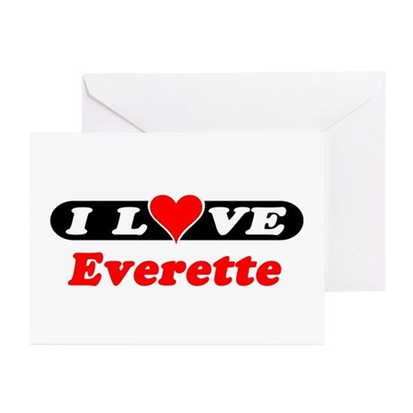 I Love Everette Greeting Cards (Pk of 10)