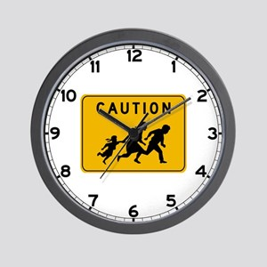 Caution at Crossing, USA Wall Clock