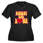 Haight Love Women's Plus Size V-Neck Dark T-Shirt