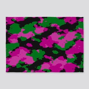Pink Camouflage print 5'x7'Area Rug