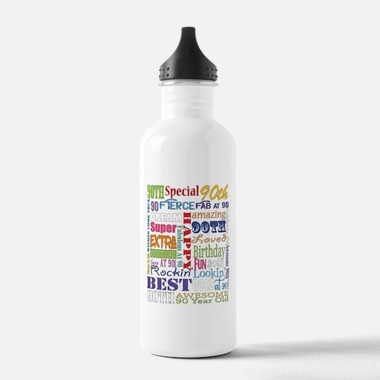 90th Birthday Typograp Water Bottle