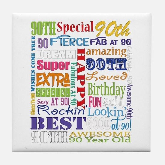 90th Birthday Typography Tile Coaster