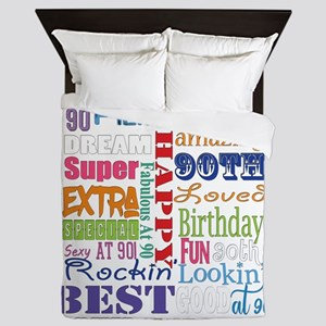 90th Birthday Typography Queen Duvet