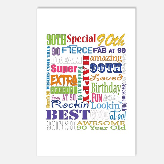 90th Birthday Typography Postcards (Package of 8)