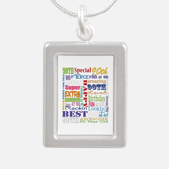 90th Birthday Typography Silver Portrait Necklace