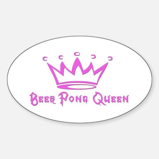 Beer Pong Queen Oval Decal