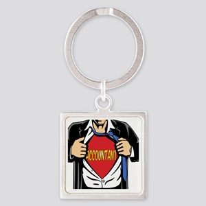 Super Accountant Square Keychain
