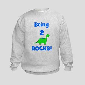 Being 2 Rocks! Dinosaur Kids Sweatshirt