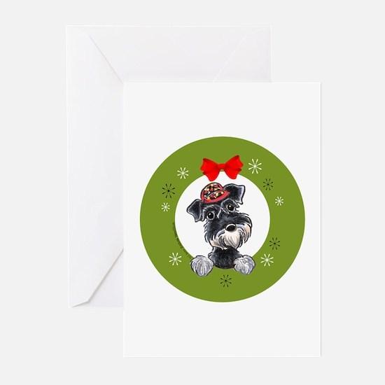 Black Silver Schnauzer Christmas Greeting Cards (P
