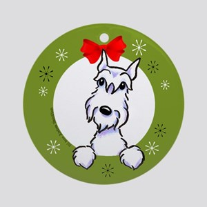 White Schnauzer Lover Christmas Wreath Ornament