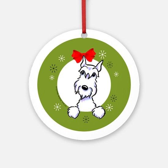 White Schnauzer Lover Christmas Wreath Ornament