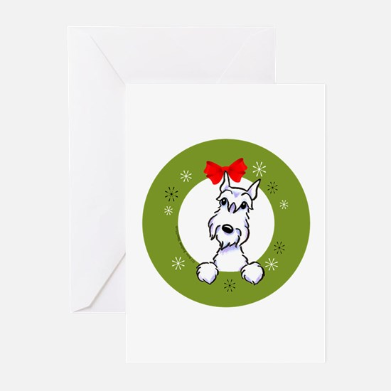 White Schnauzer Christmas Greeting Cards (Pk of 20
