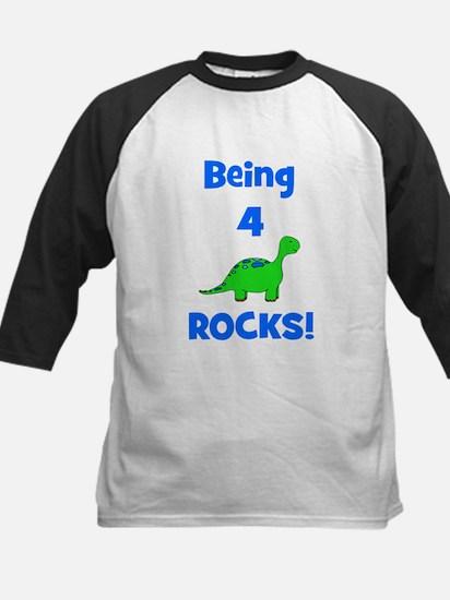 Being 4 Rocks! Dinosaur Kids Baseball Jersey