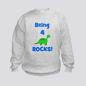 Being 4 Rocks! Dinosaur Kids Sweatshirt