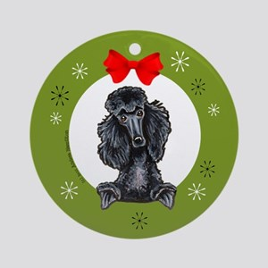Black Standard Poodle Christmas Ornament (Round)