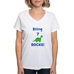 Being 7 Rocks! Dinosaur Women's V-Neck T-Shirt