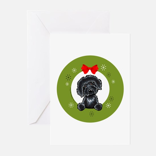 Black Labradoodle Christmas Greeting Cards (Pk of