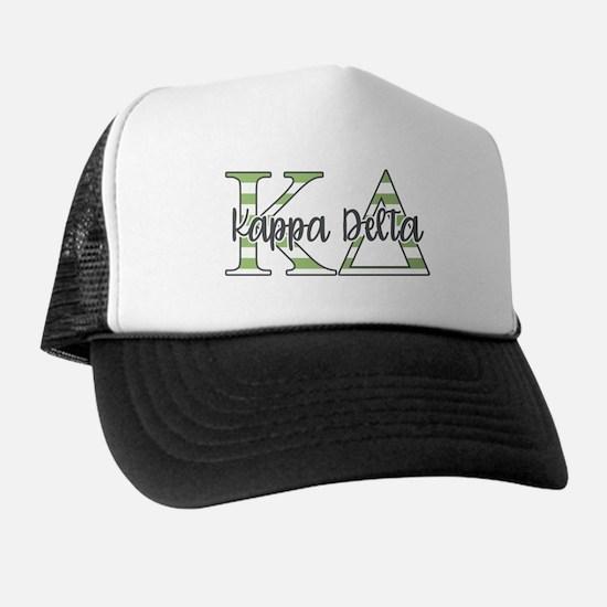 Kappa Delta Letters Striped Trucker Hat