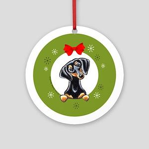 Smooth Black and Tan Dachshund Christmas Ornament