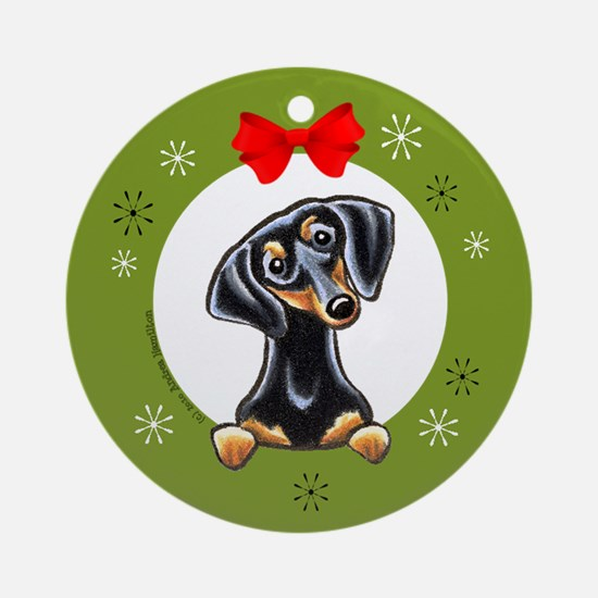 Smooth Black and Tan Dachshund Christmas Ornament