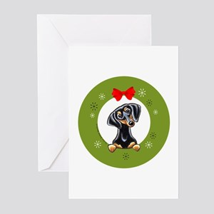 Black Tan Dachshund Christmas Greeting Cards (Pk o
