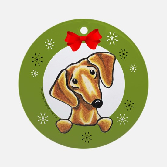 Smooth Red Dachshund Lover Gift Christmas Ornament