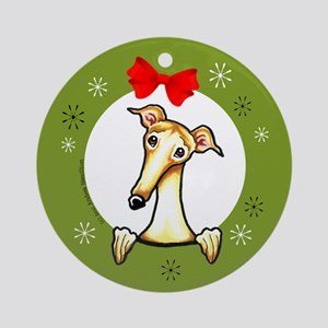 Fawn Greyhound Whippet Christmas Ornament (Round)