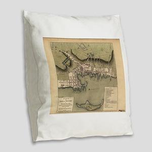 Vintage Map of Newport Rhode I Burlap Throw Pillow