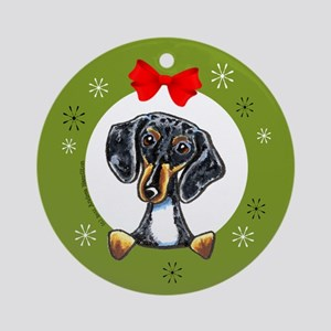 Dapple Dachshund Christmas Ornament (Round)