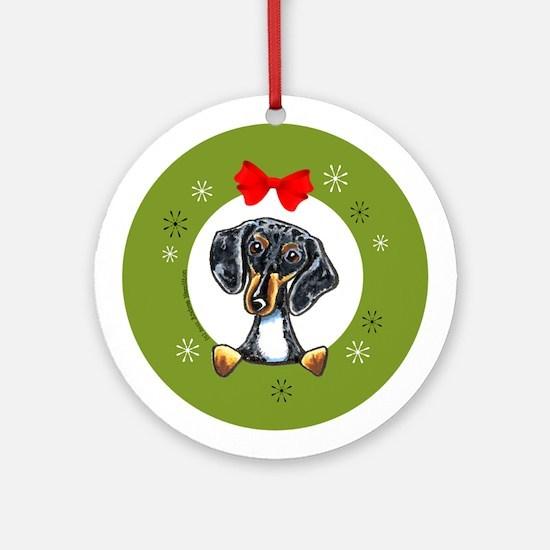 Dapple Dachshund Christmas Ornament (Round)