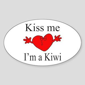 Kiss Me I'm a Kiwi Oval Sticker
