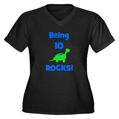 Being 10 Rocks! Dinosaur Women's Plus Size V-Neck