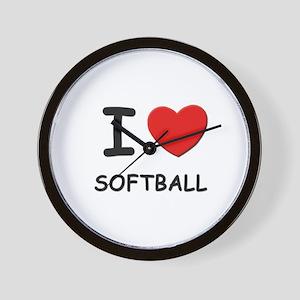 I love softball  Wall Clock