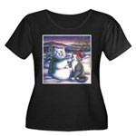 Snowcats Women's Plus Size Scoop Neck Dark T-Shirt