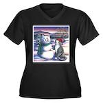 Snowcats Women's Plus Size V-Neck Dark T-Shirt